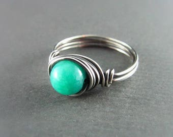 Wire Wrapped Ring Sterling Silver Ring Quartzite Ring Wire Wrapped Jewelry Mint Green Ring Silver Wire Wrap Ring Boho Ring  Boho Chic