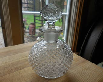Vintage 1950s to 1960s Small Chubby Clear Glass Decanter/Bottle with Ground Stopper English Hobnail Round Square Points Decor Display