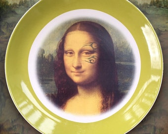 Mona Lisa With Tyson Tattoo...Up-Cycled Antique Plate