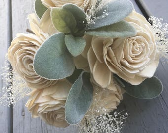Wooden Flower Bouquet, Natural Flower Bouquet, Cream and Green Bouquet, Sola Flower Bouquet