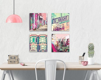 Canvas Wall Art Set.  San Francisco Photography. Urban. Grafitti. City. Haight Ashbury Street Signs. Girly Home Decor. Pink .Colorful. Aqua