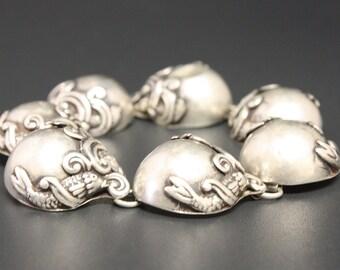 "Rare Ballestero ""Fish in Waves"" Sterling Bracelet Size 8.25 Long Ca 1930s 1st Makers Mark"