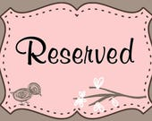 Reserved Listing for Jessy