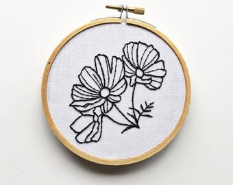 Black and white hand embroidered flowers drawn sketched floral wall art home decor gallery wall gift add on small gift
