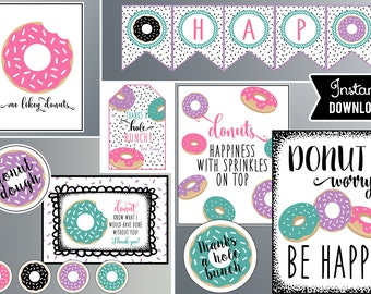 Donut Party Decorations, Pink Purple and Black, Donut Party, Instant Download