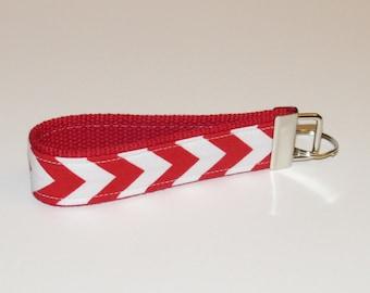 Christmas Sale Fabric Key Fob Keychain--Red Small Chevron