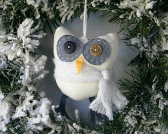 Puffy White Knit Owl Ornament