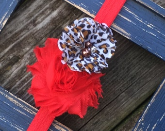 Red Leopard Print Shabby Frayed Chiffon Flower Rhinestones Flower Headband Babies,Toddlers, Girls