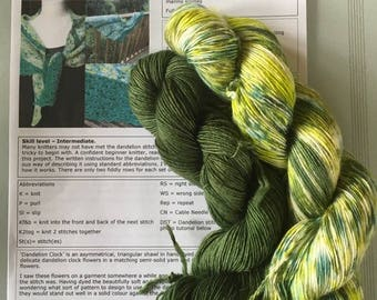 Hand-dyed 'Dandelion Clock' Shawl Knitting Kit