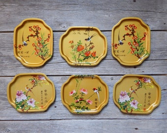 Set of Six Metal Japanese Style Trays for Serving, Bird and Flower Motif Trays, Gold Metal Trays, Japanese Trays with Birds and Blossoms