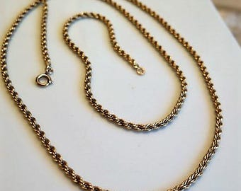 Vintage Gold Fill Necklace Triple Link Chain Great Length 1920s Marked 12K GF 30 inches