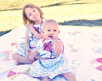 Big Sister Little Sister Kite Aprons Handmade Matching Outfits Picnic Party Spring Butterfly Button Children Clothing Mommy's Little Helpers