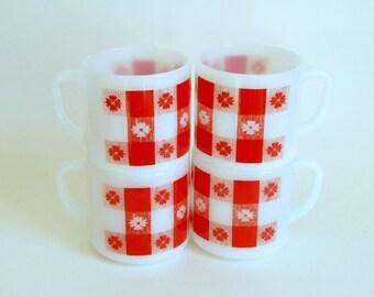 Vintage Coffee Mugs, Federal Milk Glass, Red Gingham Plaid, Coffee Mug Set of 4