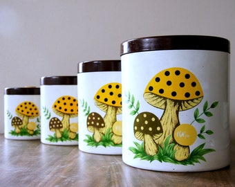 Vintage Canister Set, Merry Mushroom Canisters, Mushroom Decor, Kitschy Kitchen