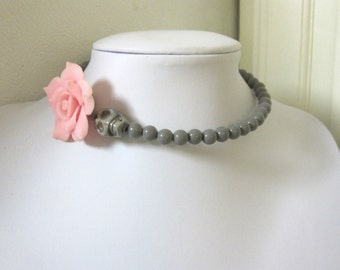 Gray Day of the Dead Necklace Sugar Skull Choker Pale Pink Rose Silver