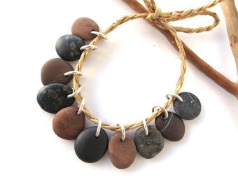 Stone Beads Small Rock Jewelry Charms Mediterranean Beach Stone River Stone Natural Stone Pairs BROWN BLACK CHARMS 13-15 mm