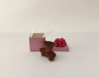 Miniature Teddy Bear in a Wrapped Package with Red Bow, Dollhouse Gift Box