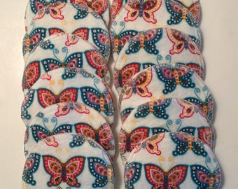 Nursing pads/Facial Wipes 12 sets (24 total) made with 4 layers of 100% cottlon flannel Beautiful Butterfly Pattern