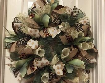Fall Burlap Wreath Moss Green Animal Print Deco Mesh Wreath