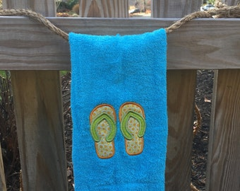 Flip Flops embroidered hand towel, personalized towel
