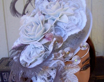 Fascinator (F704) White Grey Silver Colors,  Mini Hat, Handmade Foam Rosettes, Ascot or Kentucky Derby, Weddings, Diner en Blanc Hawaii