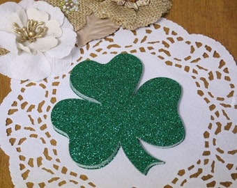 Shamrock Glitter Die Cut // Clover Glitter Die Cut // for Banners // Signs //  Scrapbook Die Cuts // 4 inches tall // Large