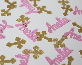 50 Personalized Glitter Cross & Name Confetti for Baptism // Christening // Confirmation - 2 inches -- 50 pieces