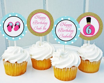 Spa Cupcake Toppers Printable - Small Party Circles - Pink Gold Confetti Spa Collection