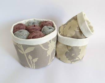 Knitting Baskets Craft Storage Boxes Stackable Fabric Bin 3 Flower Pots Set Home Decoration
