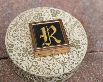 Vintage R Initial Pill Case Harwood Brand