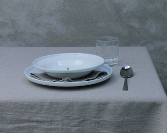 Rough Softened Linen Tablecloth. Undyed. Natural  Grey. Washed linen, various sizes.