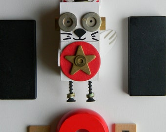Robot Ornament - Lucky Cat Bot  - Upcycled Ornament - Hanging Decor by Jen Hardwick