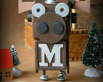 Robot Ornament - Moose Bot - M Bot - Upcycled Ornament - Hanging Decor by Jen Hardwick