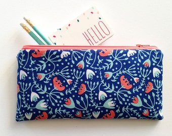 Wild and Free Floral, zipper Pouch, pencil case, coral bell floral, make up bag, zipper bag, organizer