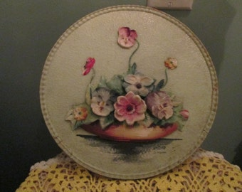 1940s Flower Wall Plaque Signed / 3 D Hand Painted Flowers Wall Hanging Round