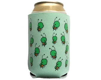 bug can cooler (mint), cute can coolie, bug cozy, cute bug, beverage insulator