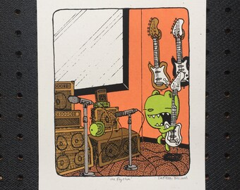 the rhythm guitar print, kids room art, nursery print, guitar print, music print, bear print