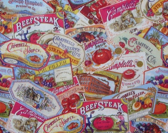 Campbell Ads, Campbell Soup Ads, Vintage Ads, Campbell Food Ads Fabric,  By the Yard, Collage style