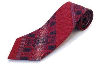 1960s Wide Tie  Wide Designer Tie Givenchy Tie Fuschia Wide Tie Fuschia Red Necktie Vintage 60s Tie Givenchy Print Tie Fuschia Black Tie