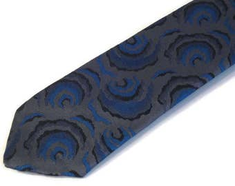 60s Neckwear Skinny Gray Tie 1960s Narrow Tie Gray Blue Black Tie MOD Narrow Patterned Tie Narrow Blue Tie Skinny Rock a Billy Tie