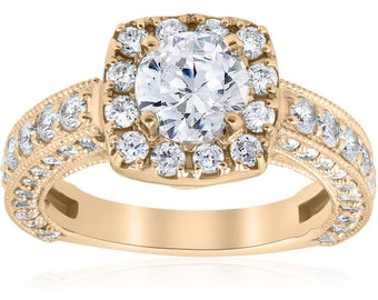Yellow Gold Cushion Halo Diamond Engagement Ring 2 1/2ct Vintage Diamond Engagement Ring Antique Round Brilliant Cut Engagement 14k Gold