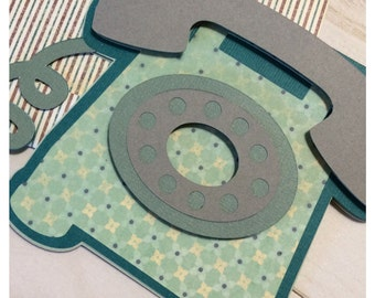 Call Me Rotary Telephone Card handmade with envelope