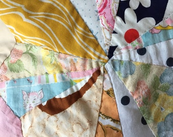 Vintage American Patchwork Handmade Crazy Style Star Quilt Indiana MIDCENTURY
