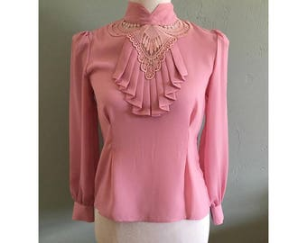 Vintage Pink Mauve Ornamental Bib Long Sleeve Sheer Shirt, Women's Small