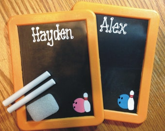 Bowling Chalkboard Party Favor / Personalized BOWLING Chalkboard / Bowling Favors / Chalkboard with Chalk