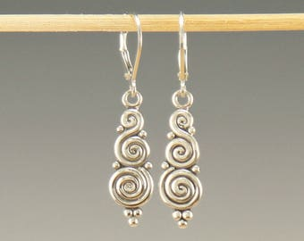 ER609- Sterling Silver Swirl Earrings- One of a kind