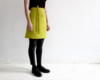 Linen half apron, Mustard linen apron, Mustard apron, Short linen apron, Half apron, Linen waist apron, Kitchen apron, Yellow - green apron