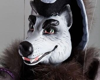 Wolf Marionette - Czech Handmade String Puppet
