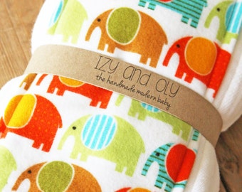 Burp Cloths Owls or Elephants - Set of 2 - New Baby Shower Gift - Pick Green or Yellow