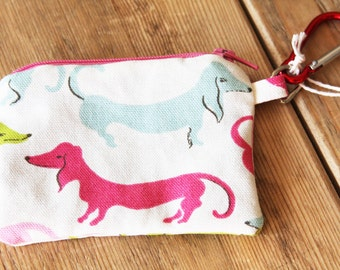 Dachshund Change Purse with Carabiner - Wallet - Zipper Pouch in Pink Blue Green